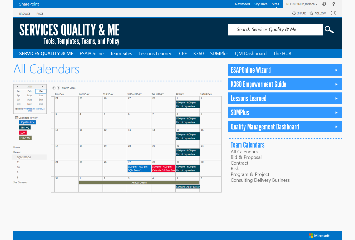 SQM Team Calendars