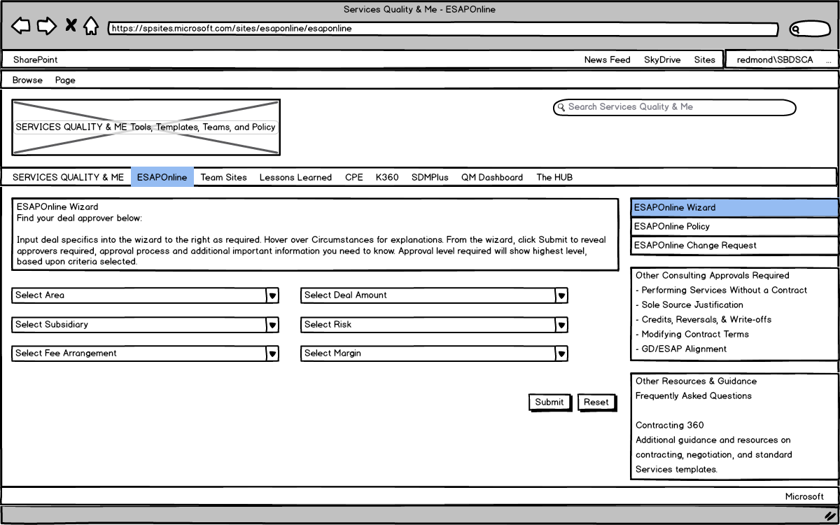 ESAPOnline Team Page Wireframe