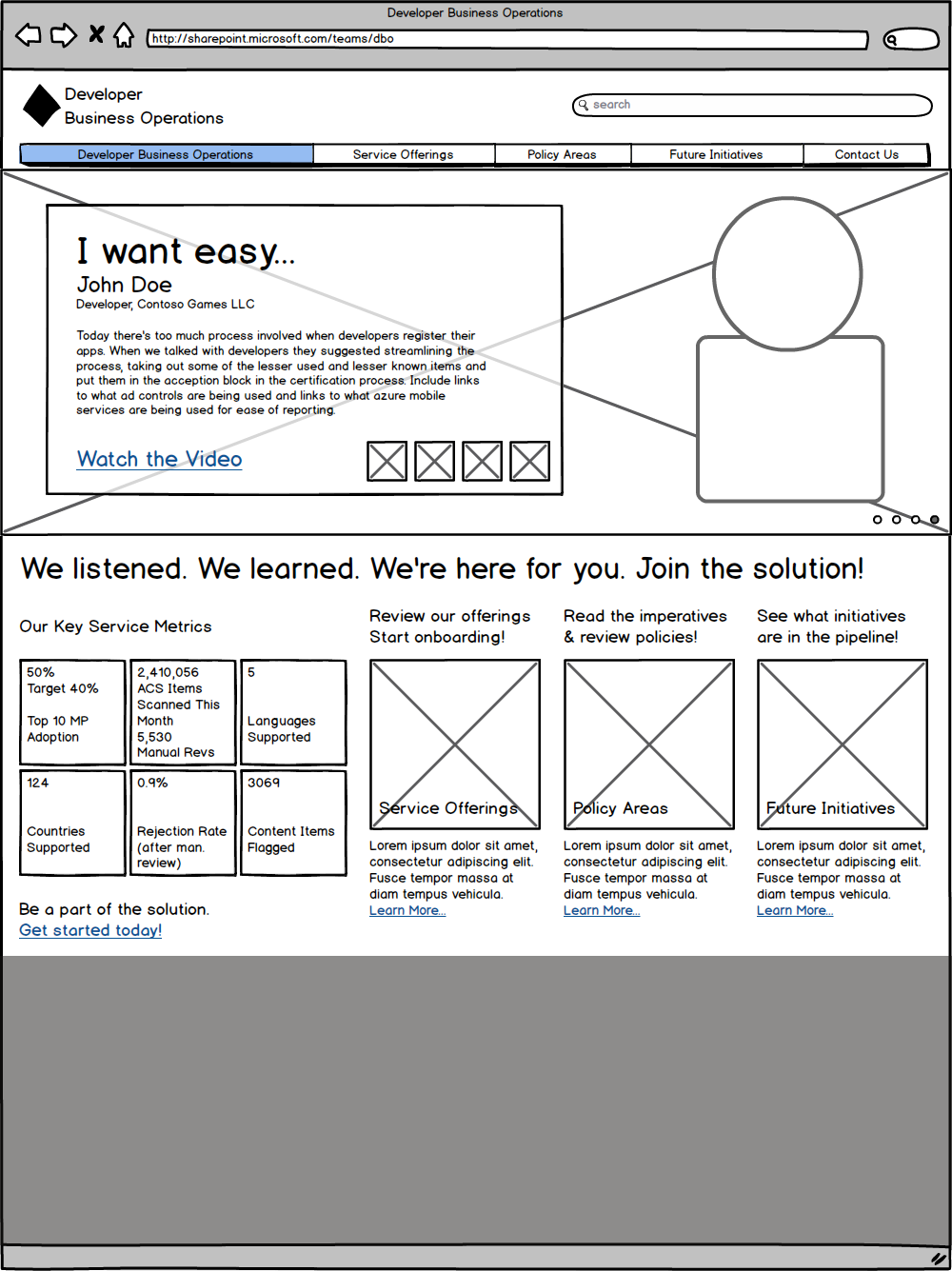 DBP Landing Page Wireframe