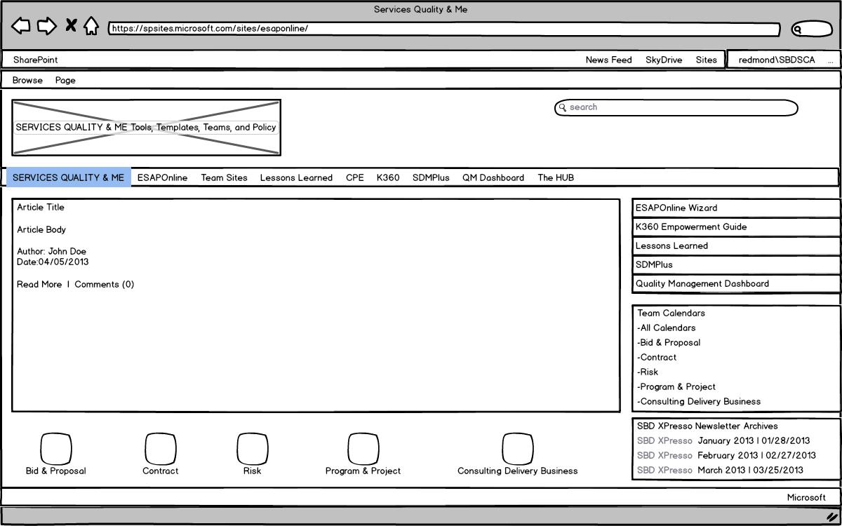 SQM Landing Page Wireframe